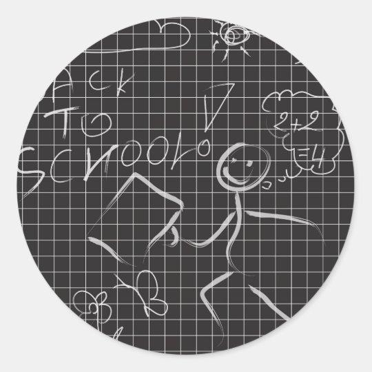 back to school classic round sticker