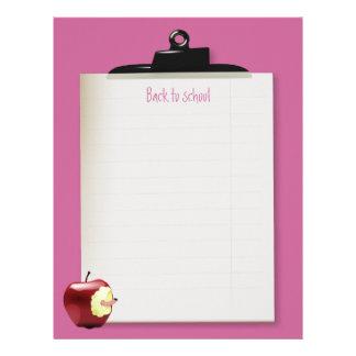 Back to school.  Clipboard letterhead (pink)