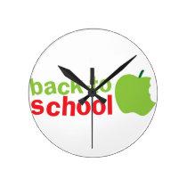 Back-To-School cute teacher design with an apple Round Clock