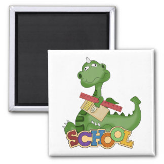 Back To School Dragon 2 Inch Square Magnet
