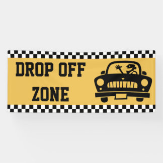 Back To School - Drop Off Zone Checkered Racing Banner