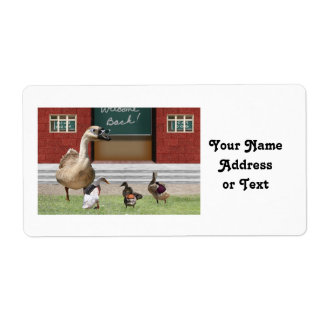 Back to School Ducks with Backpacks Label
