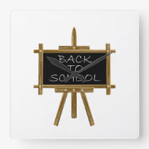Back to school easel board square wall clock