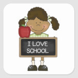 Back To School Elementary School Gift Square Stickers