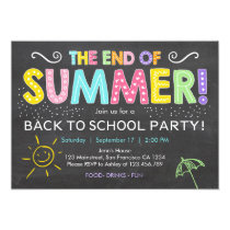 Back to school end of summer Party Invitation