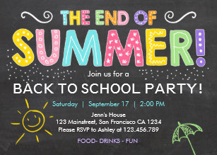 end of school party invitations zazzle