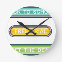 Back to school Free trial Get the deal Buttons Round Clock