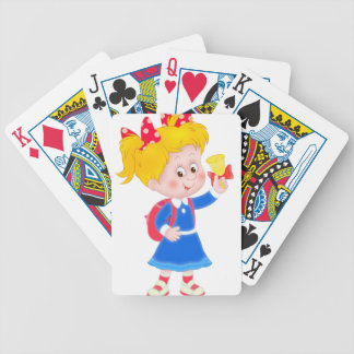 Back to school girl bicycle playing cards