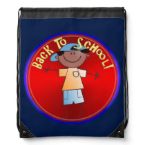 Back To School - Happy Boy (1) Drawstring Backpack