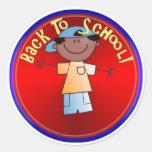 Back To School - Happy Boy (1) Round Sticker