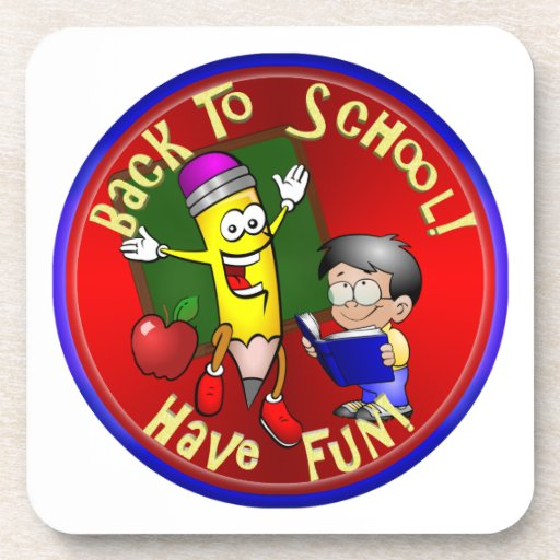 Back To School Happy Pencil - Have Fun! Beverage Coasters