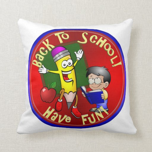 Back To School Happy Pencil - Have Fun! Throw Pillow