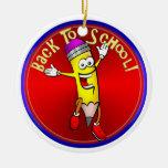 Back To School - Happy Pencil Christmas Tree Ornaments