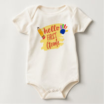 Back to School - Hello First Grade Baby Bodysuit