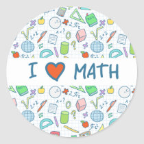 "Back to school: ""I love math"" sticker"