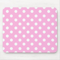 Back to school in pink & white dots mouse pad