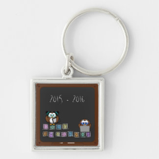 back to school Silver-Colored square keychain