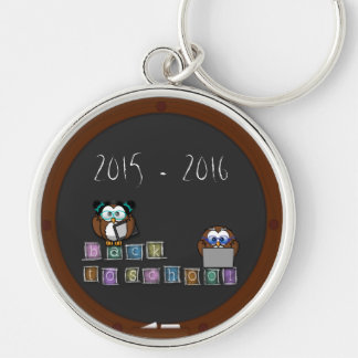 back to school Silver-Colored round keychain