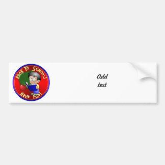 Back To School - Little Boy Reading Book Bumper Sticker