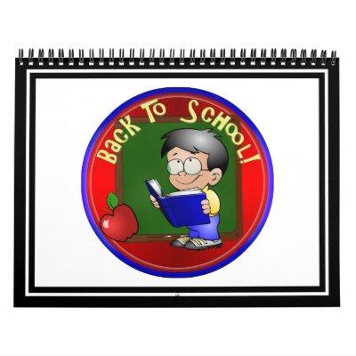 Back To School - Little Boy Reading Book Wall Calendars