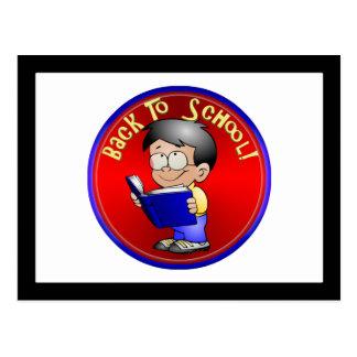 Back To School - Little Boy Reading Book Postcard