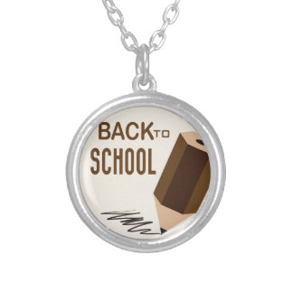 Back To School Round Pendant Necklace