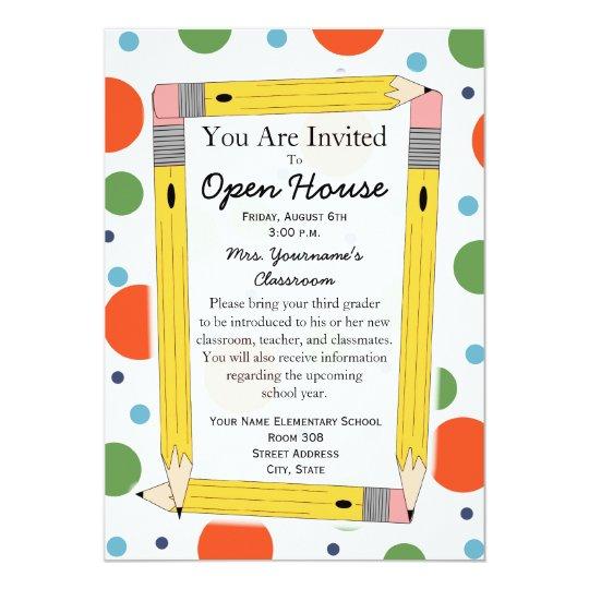 back to school open house invitation. Black Bedroom Furniture Sets. Home Design Ideas