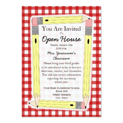 Classroom Open House Yellow Pencils Gray Gingham Card Zazzlecom