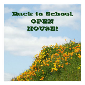 Back to School OPEN HOUSE Invitation Cards Poppies