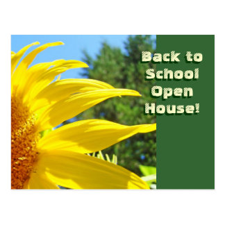 Back to School Open House! party Fall Sunflowers Postcard