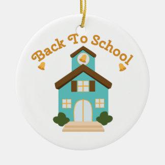 Back to School Round Ceramic Ornament