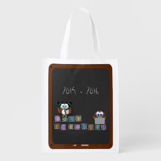 back to school owl grocery bag