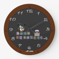 back to school owl large clock