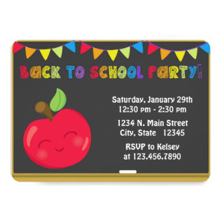 Back to School Party Chalkboard Invitation