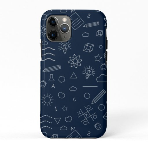 Back to School Pattern Kids Children Students Navy iPhone 11 Pro Case