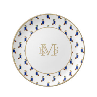 Back to School Pattern of Painted School Girls Porcelain Plates