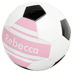 back to school pink stripes customizable soccer ball at Zazzle