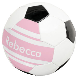 back to school pink stripes customizable soccer ball