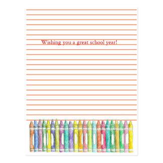 Back to school postcard color crayons illustration