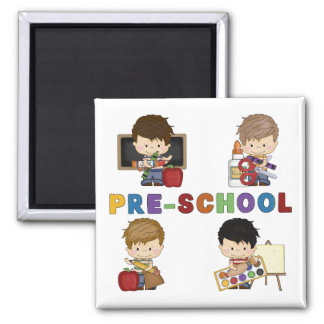 Back To School Preschool Boy 2 Inch Square Magnet