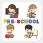 Back To School Preschool Boy Square Sticker