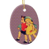back to school Retro pattern kitsch Vintage Kids Ceramic Ornament