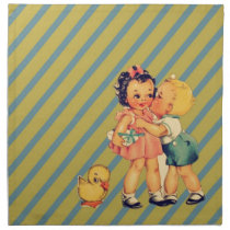 back to school Retro pattern kitsch Vintage Kids Cloth Napkin