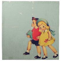back to school retro pattern Kitsch Vintage Kids Napkin