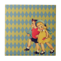 back to school Retro pattern kitsch Vintage Kids Tile