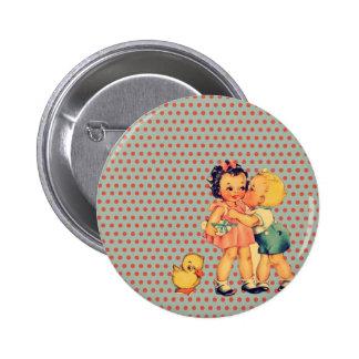 back to school retro polka dots Vintage Kids Button