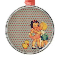 back to school retro polka dots Vintage Kids Metal Ornament