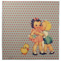 back to school retro polka dots Vintage Kids Napkin