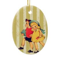 back to school retro stripes Kitsch Vintage Kids Ceramic Ornament