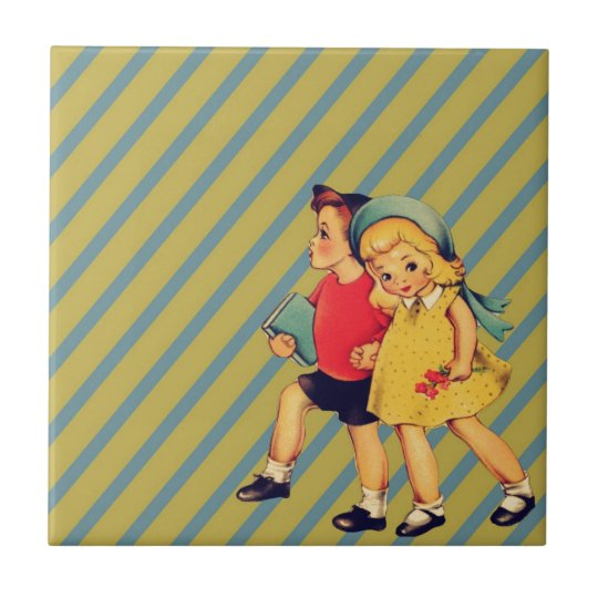 back to school retro stripes Kitsch Vintage Kids Ceramic Tile
